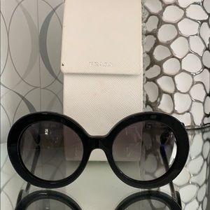 Prada Black Baroque Swirl Women's Round Sunglasses